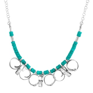 Turquoise Bead Curlicue Necklace in Sterling Silver - Green