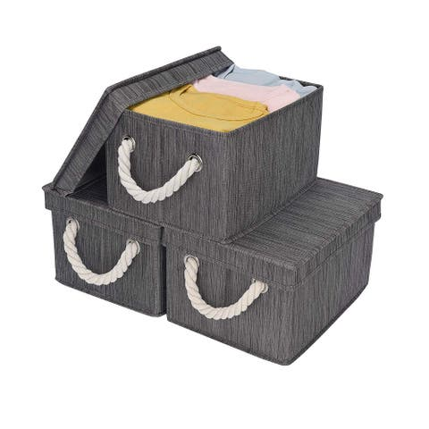 StorageWorks Foldable Fabric Storage Bin w/Cotton Rope Handles & Lid, Slate, 2-Pack