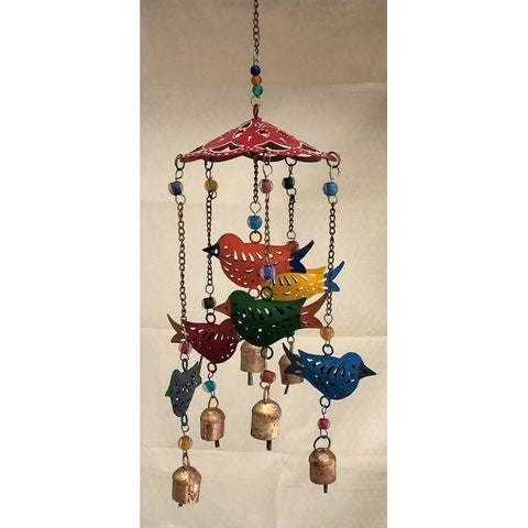 Large Wind Chimes Outdoor Sound Rich Relaxing Tones 6 x 15 inches Red Green Blue - 6 x 15 inches