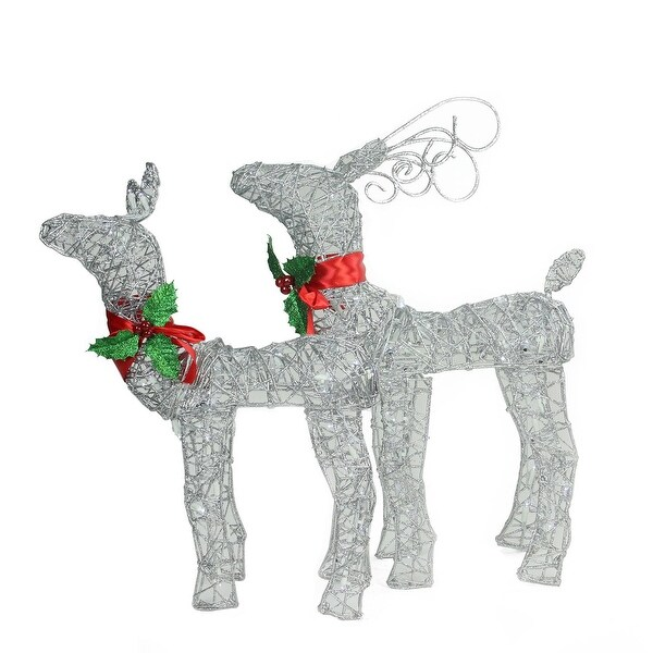 Set of 2 LED Lighted Silver Glitter Buck and Doe Reindeer Christmas Outdoor Decorations