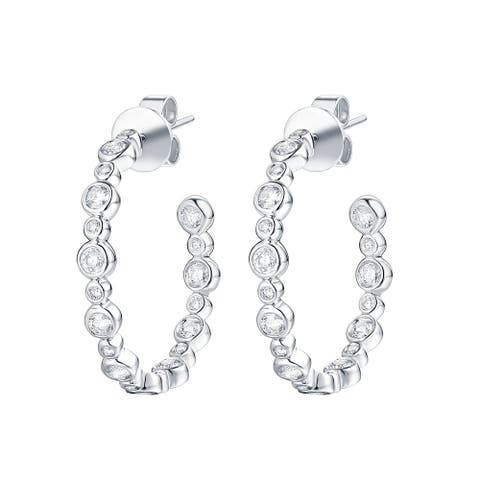 Smiling Rocks 0.81Ct G-H/VS1 Lab Grown Diamond Inside Out Bubble Earrings, 10K Gold