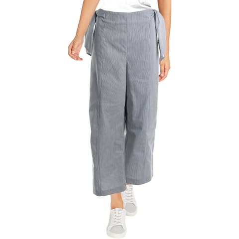 CeCe Womens Dress Pants Striped Bow - Grey/White