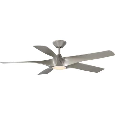 Vernal Collection 60-Inch 5-Blade Silver LED Wifi DC Smart Fan - 60 in x 60 in x 14.25 in