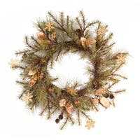 Pack of 2 Green and Brown Decorative Pine Wreaths with Bells/Snowflakes 30""