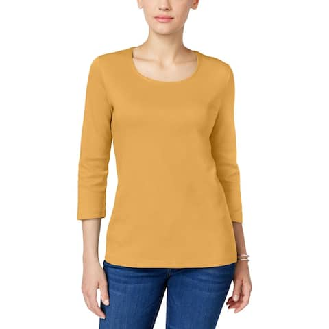 Karen Scott Womens Petites T-Shirt Cotton Crew Neck - PL