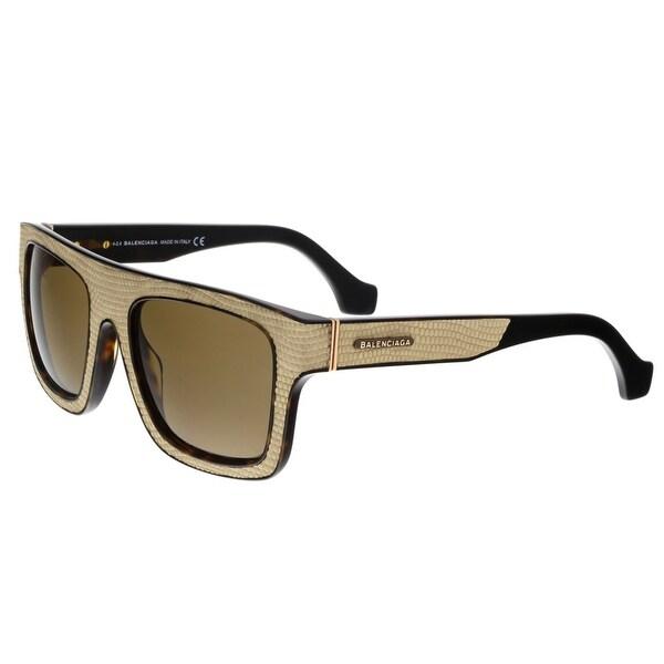 Balenciaga BA0010 47E Textured Beige and Tortoise Square Sunglasses - textured beige and tortoise