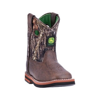 John Deere Western Boots Boys Rubber Leather Square Camo