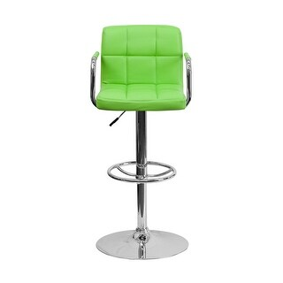 Offex Contemporary Green Quilted Vinyl Adjustable Height Bar Stool With Arms And Chrome Base - N/A