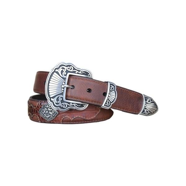 Vintage Bison Western Belt Men Odessa Leather Stitching Saddle