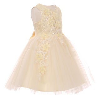 Girls Champagne 3D Floral Appliques Soft Tulle Flower Girl Dress 8