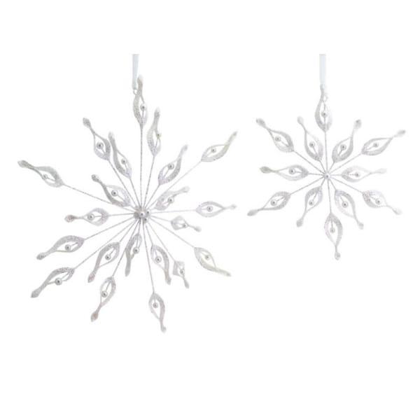 Club Pack of 12 Elegant Glittery Beaded White Snowflake Christmas Ornaments