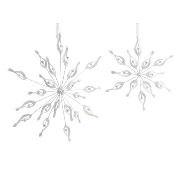 Set of 2 Elegant Glittery Beaded White Snowflake Christmas Ornaments