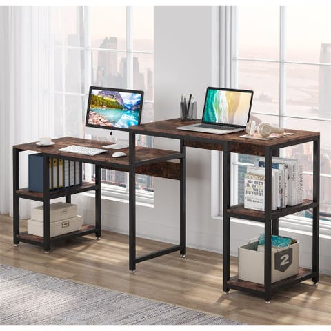 Double Desk, 78 Inch Computer Desk with Storage Shelves