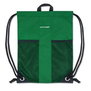 """Adventure Trails Unisex Green Front Mesh Pocket Drawstring Backpack 18""""x 13"""" - One size"""