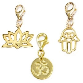 Julieta Jewelry Om, Lotus Flower, Hamsa Hand 14k Gold Over Sterling Silver Clip-On Charm Set