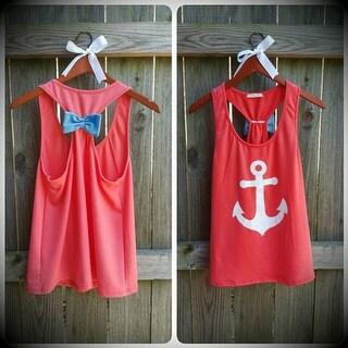 Anchor Print Womens Summer Casual Sleeveless Blouse Tank Tops T-Shirt Tee
