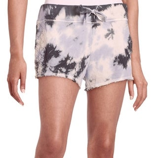 Kensie NEW Pink Women's Size XL Drawstring Tie-Dye Lace Trim Shorts