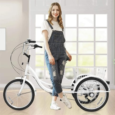 Tricycle 7-Speed, 20-Inch Three Wheel Cruiser Bike with Cargo Basket, Tricycle for Adults, Women, Men, Seniors Exercise Shopping