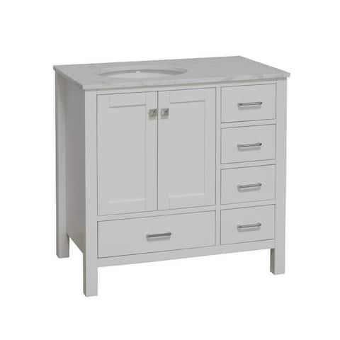 "KitchenBathCollection Horizon 36"" Bathroom Vanity with Engineered Carrara Top"