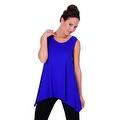 Simply Ravishing Women's Solid Round Neck Sleeveless High Low Asymmetrical Hem Tunic Top - Thumbnail 10