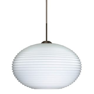 Besa Lighting 1JT-491307 Pape 1 Light Cord-Hung Pendant with Opal Ribbed Glass Shade