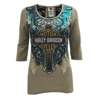 Harley-Davidson Women's Cloak of Feathers, 3/4 Sleeve Tee, Embellished HD126KHA (5 options available)