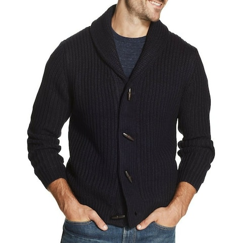 Weatherproof Mens Sweater Navy Blue Size Small S Textured Knit Cardigan