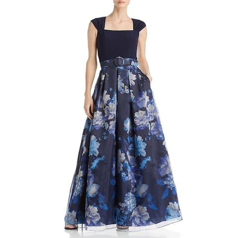 Eliza J Womens Evening Dress Floral Formal - Navy