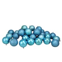 "32ct Turquoise Blue Shatterproof 4-Finish Christmas Ball Ornaments 3.25"" (80mm)"