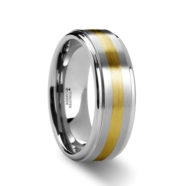 London Gold Inlaid Raised Satin Finish Tungsten Ring