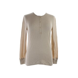 Lauren Jeans Co. Tan Waffle-Knit Thermal Top L