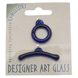 Beadsmith Borosilicate Glass Toggle Clasp - Sapphire Blue - 19.5mm