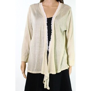 Joseph A. NEW Gold Womens Large L Shimmer Ruffle-Trim Cardigan Sweater