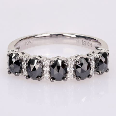 Miadora 10k White Gold 1 1/4ct TDW Oval Black Diamond & Created Moissanite Anniversary Band Ring