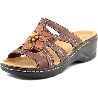 Clarks Narrative Lexi Myrtle Women 2E Open Toe Leather Brown Slides Sandal