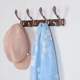 Dual Wall Hook Stainless Steel Base 13.6 Inch 4 Hooks Coat Towel Holder Copper