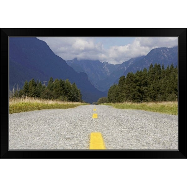"""Canada, British Columbia, Pitt Meadows, rural road leading to mountains"" Black Framed Print"