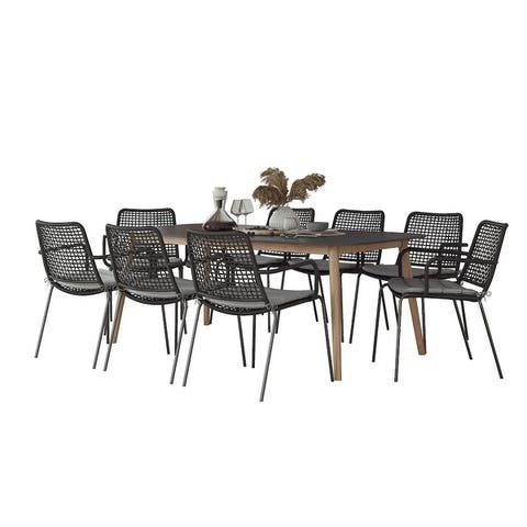 Midtown Concept Kazan Indoor Dining Room Table Set Dining Set Kitchen Table with Chairs Home Decor - Black Rope Chairs