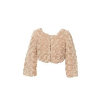 Kids Dream Little Girls Taupe Faux Fur Long Sleeve Pearl Bolero Jacket 2T-6