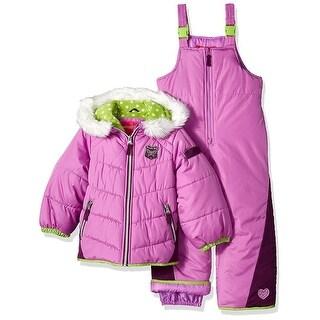 London Fog Girls 4-6X Quilted Puffer Jacket Snowsuit - Purple