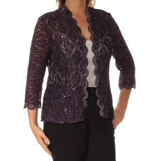 ALEX EVENINGS $179 Womens New 1480 Purple Lace Sequined Long Sleeve Top 14 B+B