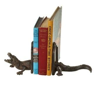 "Set of 2 Distressed Black Decorative Alligator Bookend Pairs 9.62"""