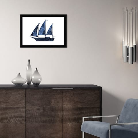 Hatcher & Ethan 'Sail Boat VII' Wall Art Framed Print - Blue, White