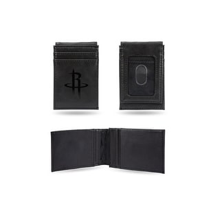 4 Black NBA Houston Rockets Laser Engraved Front Pocket Wallet N A