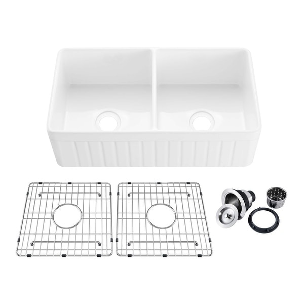 """33"""" White Fireclay Farmhouse Undermount Double Kitchen Sink with Bottom Grid and Strainer. Opens flyout."""