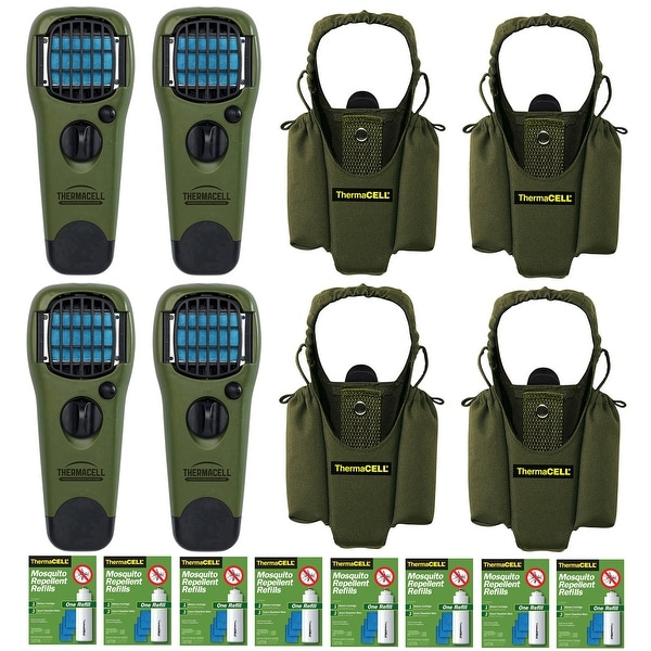Thermacell Repeller (4) w/ Olive Holster (4) & Refills Kit (8) - Green