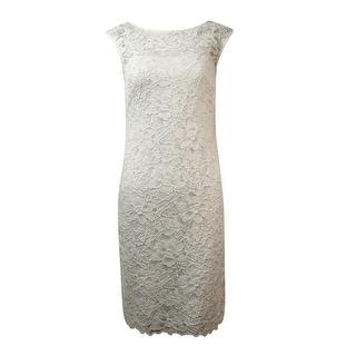 Calvin Klein Women's Illusion V-Back Lace Sheath Dress