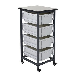 "OF-MBS-SR-4L - Offex 37.5"" Mobile Bin Storage Unit - Single Row with 4 Large Bins"
