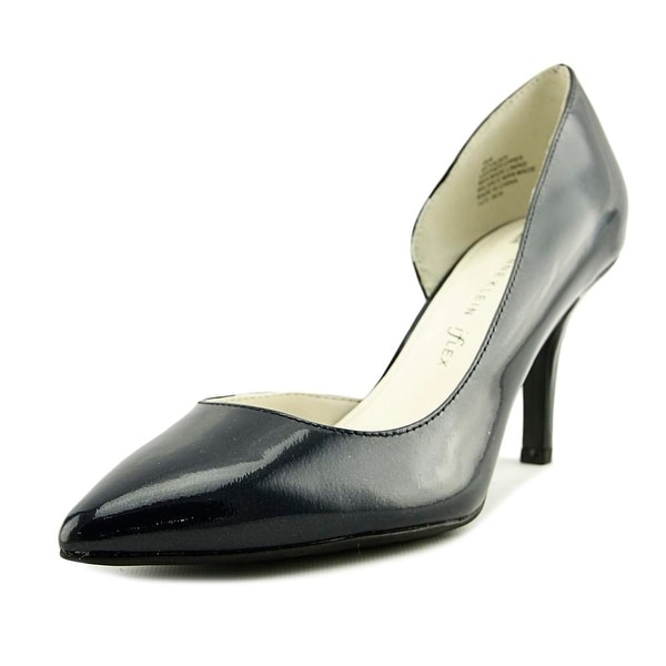 Anne Klein Yolden Women Pointed Toe Patent Leather Blue Heels