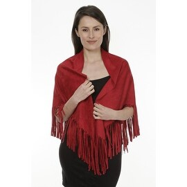 Women's Faux Suede Fringed Cape Shawl Wrap Scarf, Large Triangle